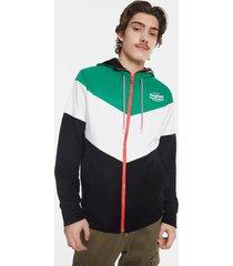tricolour sweatshirt jacket - black - xxl