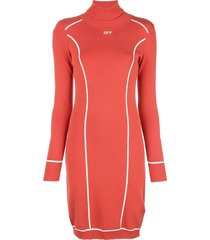 atheletic logo turtleneck fitted dress