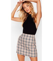 womens check in sometime plaid mini skirt - beige