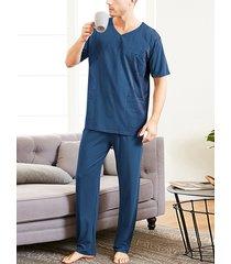 incerun hombre verano color sólido transpirable soft conjunto de pijama de manga corta