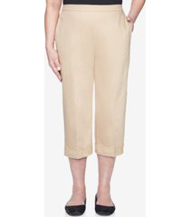 alfred dunner pull on back elastic sateen capri