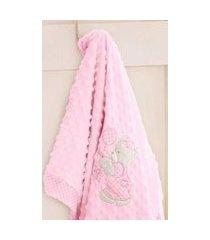 edredom bebê jolitex bordado ursinha rosa em relevo