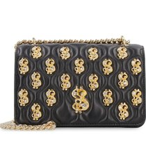 moschino dollar studs leather shoulder bag