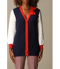 be blumarine cardigan long over college cardigan