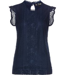 top in jersey con pizzo (blu) - bpc selection premium