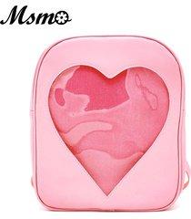 candy transparent love heart shape backpacks school backpack shoulder bag