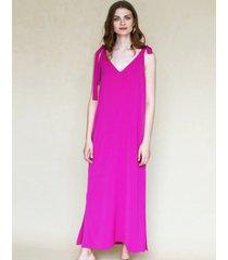 sukienka maxi z wiązaniami fuksja