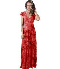 vestido largo mangas rojo lente maria paskaro