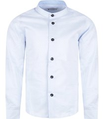 dondup light blue boy shirt with black polka dots