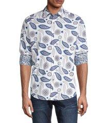 robert graham men's pinehill paisley-print shirt - white - size m