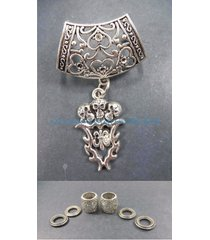 skull fleur-de-lis or flower-de-luce pendant slider scarf ring scarf jewelry