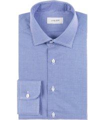 camicia da uomo su misura, canclini, blu geometria, quattro stagioni | lanieri