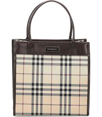 burberry pre-owned vintage check tote bag - brown