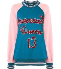 dolce & gabbana oversized tropical queen sweatshirt with embellishment
