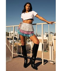 womens party crasher multicolored fringe shorts - silver