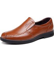 casual scarpe in cuoio con cucito a mano slip-on