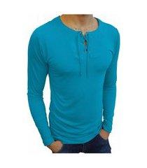 camiseta bata básica básica slim lisa manga longa azul turquesa