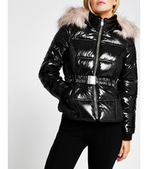 river island womens petite black double zip padded belted jacket
