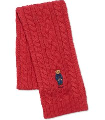 men's recycled cable bear scarf