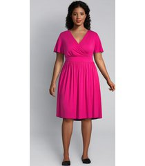 lane bryant women's flutter-sleeve crossover fit & flare dress 26/28 magenta cosmo