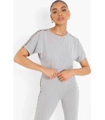 kort luipaardprint t-shirt met zijstreep, grey marl