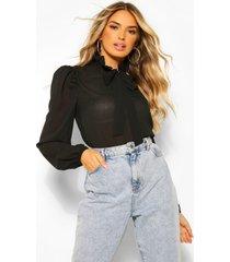 chiffon blouse met schouderpads en strik, zwart
