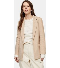 tan slouch double breasted blazer - tan