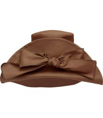 miu miu bow-embellished oversized hat - brown