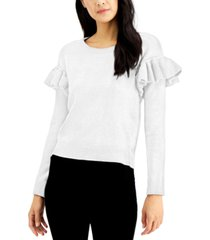 inc ruffled-shoulder sweater, created for macy's