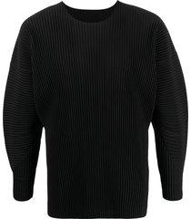 homme plissé issey miyake pleated balloon-sleeve sweatshirt - black