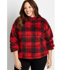 maurices plus size womens buffalo plaid mock neck sherpa pullover sweatshirt red