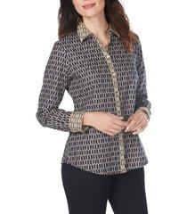 women's foxcroft ava chain jacquard shirt, size 16 - blue
