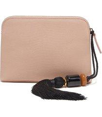 mini safari clutch in blush lizard with strap