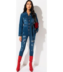 akira who knows button down belted denim jumpsuit