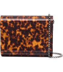 jimmy choo candy tortoiseshell-effect clutch bag - neutrals
