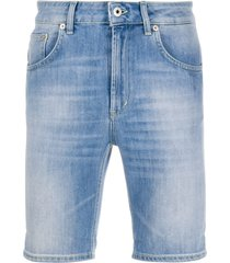 dondup slim-fit logo denim shorts - blue