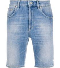 dondup slim-fit logo denim shorts - blue