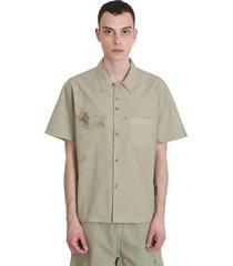 john elliott bowling shirt shirt in khaki cotton