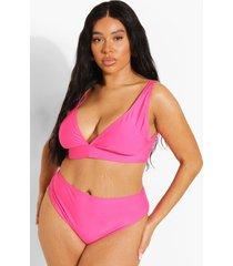 plus gerecyclede bikini top met laag decolleté, hot pink