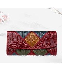 women patchwork phone borsa olio cera vera pelle portafogli vintage