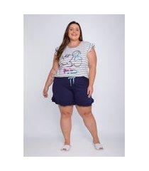 pijama plus size feminino evanilda manga curta minnie