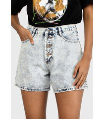short missguided acid wash button mom shorts denim celeste - calce regular