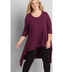 lane bryant women's 3/4-sleeve asymmetrical high-low tunic 26/28 pickled beet