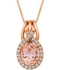 """le vian morganite (1-3/4 ct. t.w.) & diamond (3/8 ct. t.w.) 18"""" pendant necklace in 14k rose gold"""