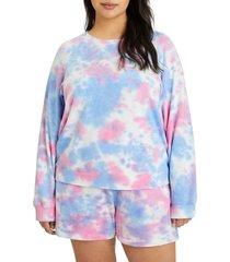 plus size women's sanctuary ombre raglan sweatshirt, size 1x - blue