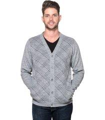 cardigan passion tricot xadrez cinza