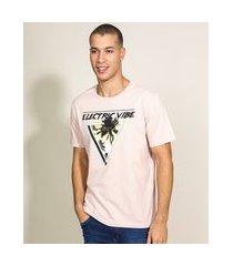 "camiseta masculina eletric vibes"" coqueiros manga curta gola careca rosa claro"""