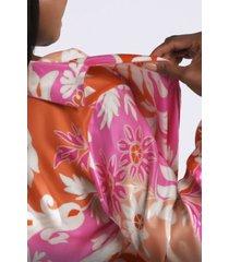 mantilla scroll mandarin pajamas, women's, papaya, 100% silk, size s, josie natori