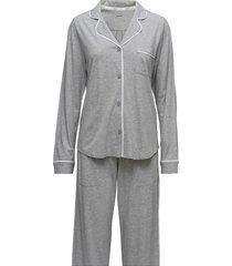 dkny new signature l/s top & pant pj set pyjama grijs dkny homewear