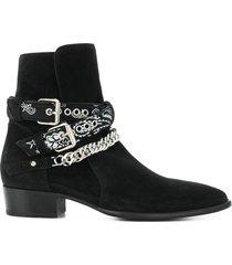 amiri bandana buckle boots - black